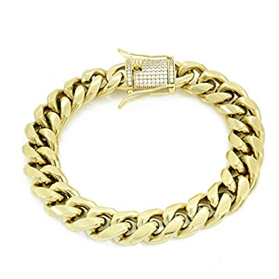 """12mm 8.5"""" Cuban Bracelet - 1ct Lab Diamond Clasp - 14k Gold Plated Stainless Steel - Iced Out Bling by HarlemBling"""