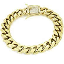 """12mm 8.5"""" Cuban Bracelet - 1ct Lab Diamond Clasp - 14k Gold Plated Stainless Steel - Iced Out Bling"""