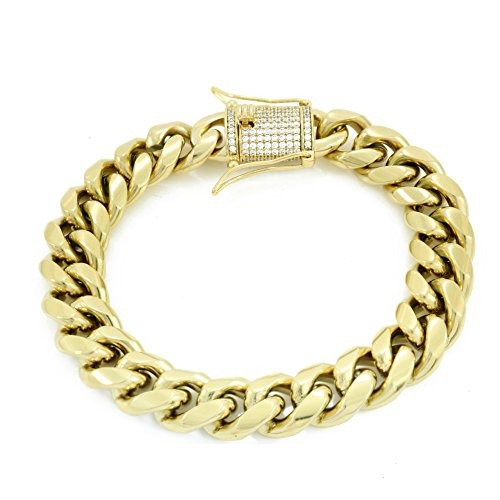elet - 1ct Lab Diamond Clasp - 14k Gold Plated Stainless Steel - Iced Out Bling (Gold Diamond Clasp)