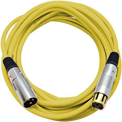 Cable 25' Premium Microphone (Seismic Audio Premium 25 Foot Yellow XLR Microphone Cable 3 Pin XLRF to XLRM Mic Cord (SAPGX-25Yellow))
