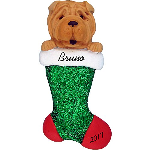 Dog in Stocking Personalized Christmas Ornament (Shar Pei) - Handpainted Resin - 3.5