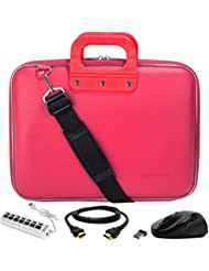 SumacLife Cady Laptop Bag w/ HDMI Cable, USB Hub, & Mouse for Fujitsu LifeBook / Stylistic 13 to 14inch