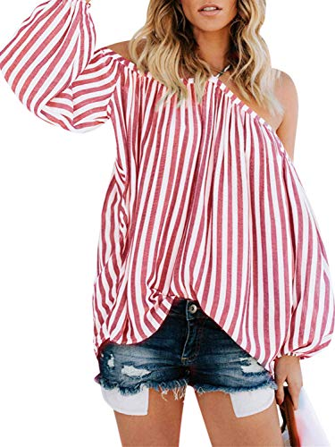 Striped Puff Sleeve Top - D Jill Women's Striped Off Shoulder Halter Blouse Long Sleeve Shirt Top Blouse Loose White and Red