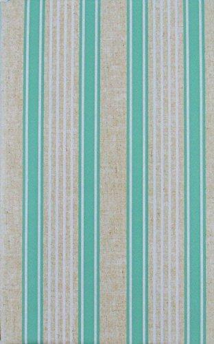 Summer Fun Sandy Stripes Vinyl Flannel Back Tablecloth (Seafoam Green, 52