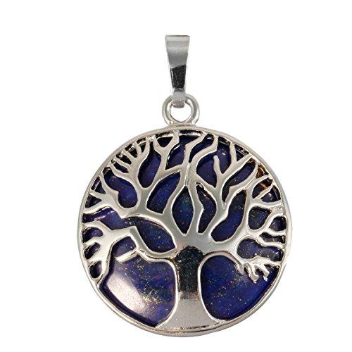 SUNYIK Round Tree of Life Amulet Pendant Necklaces for Women, Lapis ()