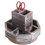 MyGift Torched Wood Rotating Desktop Office Supplies Organizer
