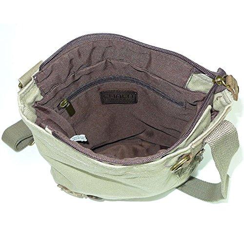 handbags with body Coin Canvas Puppy fob Sand Messenger Key Purse Cross Chala Chihuahua XIaxq4Hn4