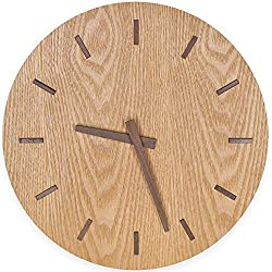 TXL 12 Large Wood Wall Clock Battery Operated Silent & Non-Ticking Quartz Desk Clock with Walnut Dial & Stereo Scale Wooden Kitchen Dining Room Office Decor Round Modern Wall Clock-Khaki