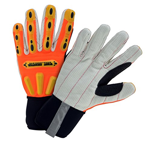 (West Chester 86800 XL R2 Corded Palm Rigger Glove with Long Neoprene Cuff, XL, Hi-Viz Orange)