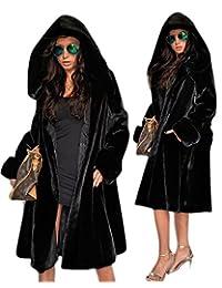 Roiii Womens Winter Luxury Outerwear Long Sleeve Faux Mink Fur Coat