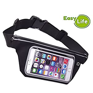 Cell Phone Waistband: Running Fanny Pack Belt. Sport Cellphone Sweatproof holder Case for iPhone 6, 6 Plus +, 5, 5S, 5C, 4, 4S, iPod Touch, Samsung Galaxy S6, S5, S4, Note 4, 5, Edge, Universal Fit