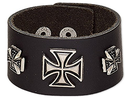 Leather Cuff Wrap Bracelet With Gothic Iron Crosses