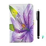 Folio Case for Samsung Galaxy Tab S 10.5 Inch (SM-T800/SM-T805) - fengus [Colorful Pattern Design] Bling Diamond PU Leather Flip Protective Cover with Stand + Dust Plug + Stylus, Purple Flower