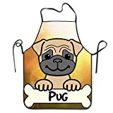 Pug Kitchen Aprons For Women And Men - Adjustable Neck Strap - Restaurant Home Kitchen Apron Bib For Cooking, Grill And Baking, Crafting, Gardening, BBQ