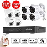 Evtevision 8CH 1080P H.265 POE NVR HD Security System,8CH NVR+4X IR Dome IP