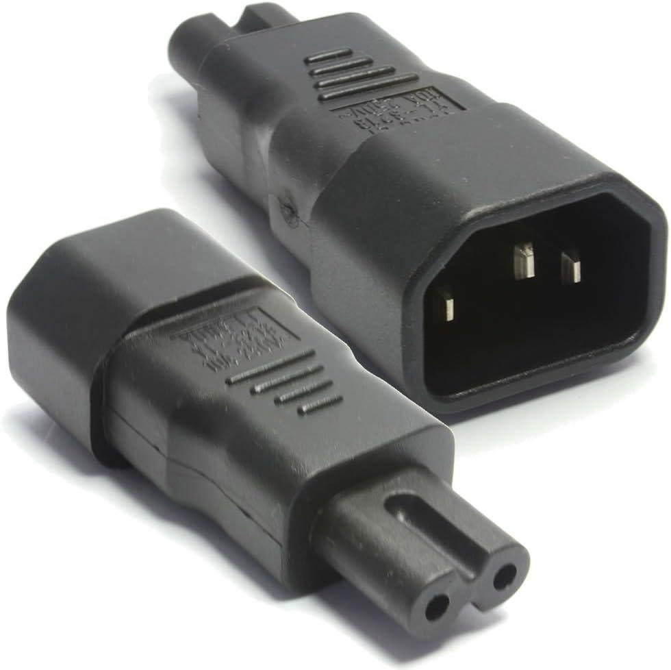 kenable 3 Pin IEC Socket C14 to Cloverleaf Plug C5 Adapter Up To 250V Black