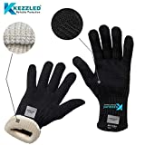 KEZZLED Oven, BBQ Gloves (Heat, Flame & Cut Resistance - EN407 Tested Level 3, 662F 15s+) (Knitted Plain)