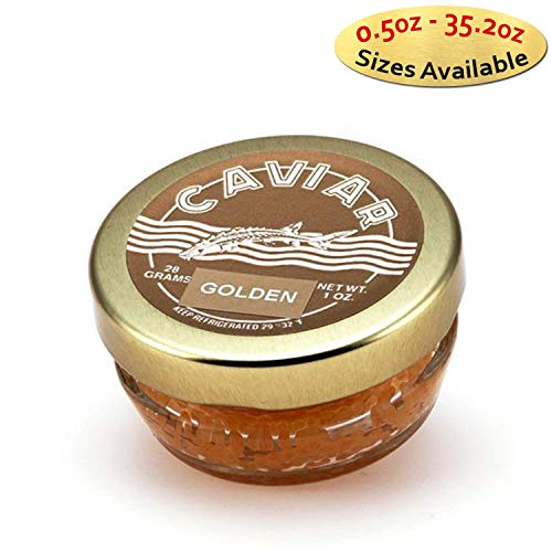 Marky's Premium Whitefish Golden Caviar - 2 oz - Malossol Whitefish Golden Roe - GUARANTEED OVERNIGHT - Golden Whitefish Caviar