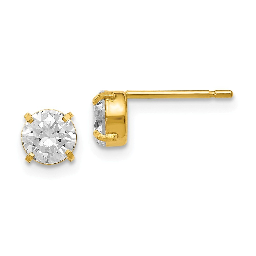 Solid 14k Yellow Gold CZ Cubic Zirconia Stud-5.0mm Earrings