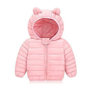 ad43a68fa437b AIKSSOO 新生児 ダウンジャケット 女の子 男の子 軽量 ベビー服 コート 冬用 フード付き 防寒 ピンク 90