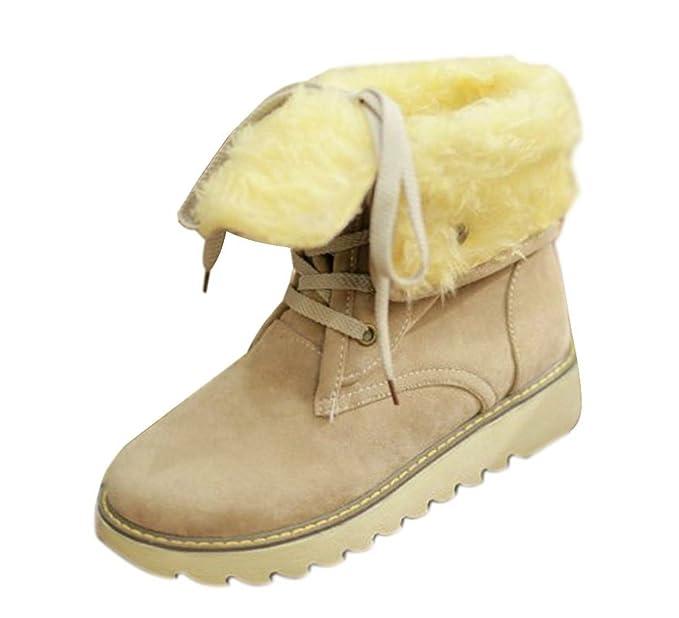 Minetom Mujer Invierno Botines Botas De Nieve Botas De Piel Calentar Casual Plano Zapatos: Amazon.es: Ropa y accesorios