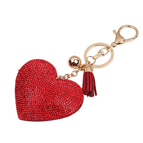 BUYITNOW Women Key Chain Love Heart Shape Pendant Rhinestone Leather Key Finder Ring