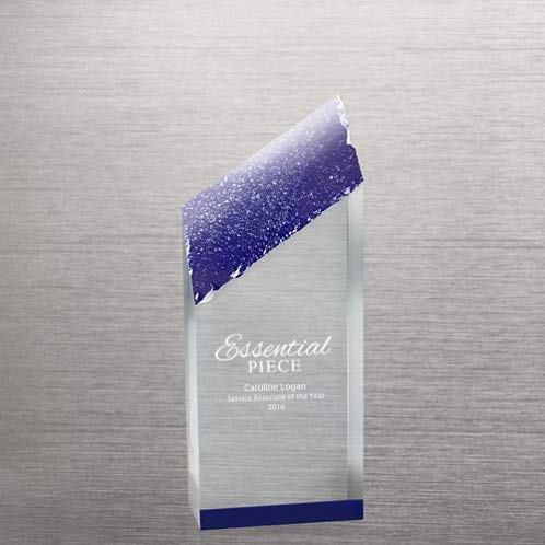 Engraved Trophy - Acrylic Color Reflection Glacier Shaped- Royal Blue Accents - Personalized Engraving Up To Three Lines and Pre-Written Verse Selection - Comes In Gift Box - Award for Employees by Baudville