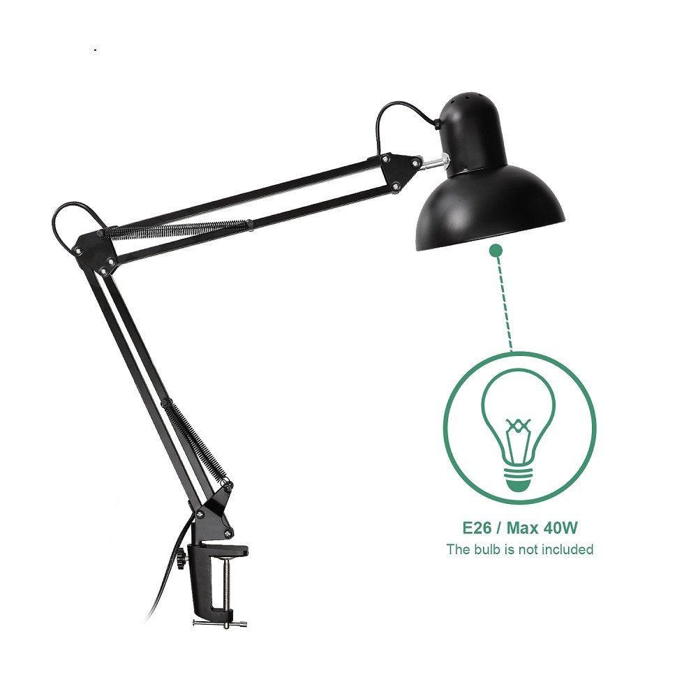Carry360 Swing Arm Desk Lamp, Long Flexible Arm Desk Lamp Architect Table Lamp Clamp Mounted Swivel Light, Black Finish by Carry360 (Image #4)