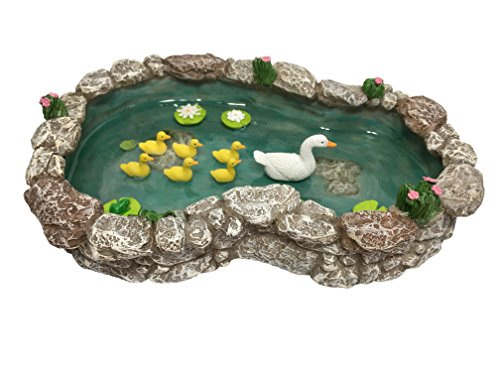 GlitZGlam Duck Pond -Mother and Ducklings! A Miniature Duck Pond for a Miniature Fairy Garden and Miniature Garden Accessories - Miniature Fairy Gardens