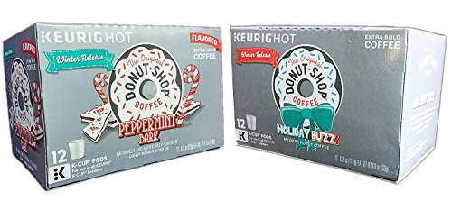 The Original Donut Shop Coffee Holiday Buzz and Peppermint Bark K-Cups Bundle (2-12 Count Boxes)