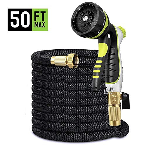 50ft Garden Hose, Durable Thicken Flexible Lightweight Non Kink Non Leak Expandable Latex Water Hose with 3/4 inch Brass Fitting and 8 Function Nozzle for Plant Car Pet Shower