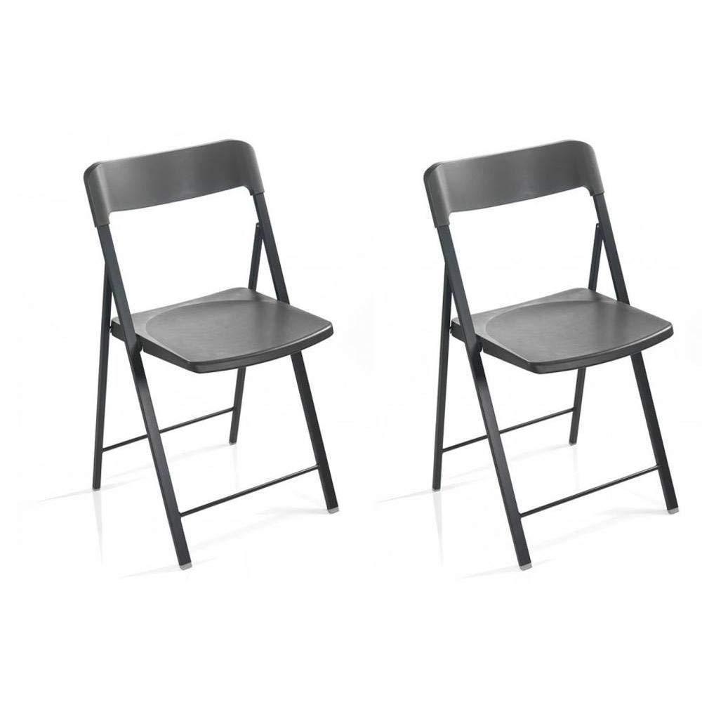 PEZZANI Juego de 2 sillas Plegables kully Gris Grafito ...