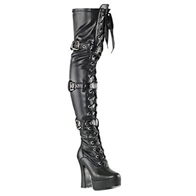 f55cb09f6a Summitfashions Womens Matte Black Thigh High Lace Up Boots with Buckles and  5'' Stacked