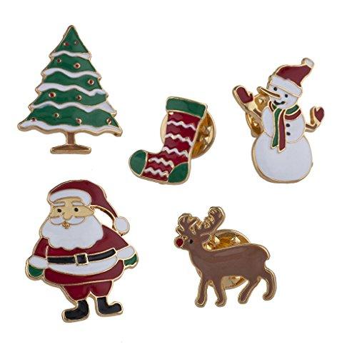 Lux Accessories Gold Tone Enamel Christmas Holiday Santa Brooch Pin Set 5PCS