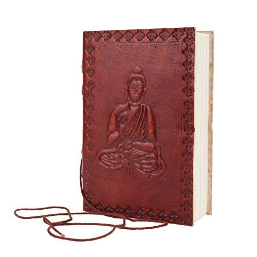 Fathers Day Gifts Leather Bound Journal Blank Pocket Diary Travel Notebook Handmade Embossed Buddha Designed (6 X 4) with 150 Handmade Pages