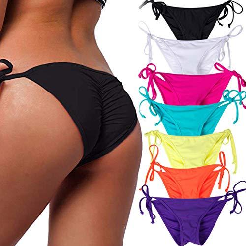 (STARBILD Women's Sexy Brazilian Bikini Bottom with Tie-Side Cheeky V Cut Thong Swimsuit XL Black )