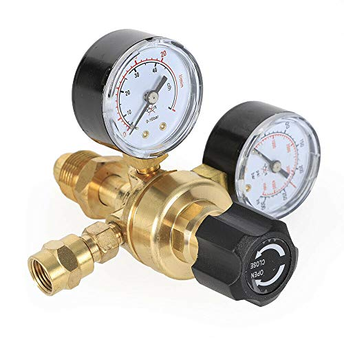 Argon CO2 Flow Meter Regulator Gauge, 4000PSI Gas CGA580 Welding Welder, Pressure Control Fitting ARG/CO2 Gauge Miller Mig Tig, Brass Regulator Body