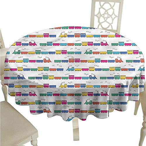 ScottDecor Jacquard Tablecloth Train,Colorful Rail Network Vintage Printed Tablecloth Round Tablecloth D 36""