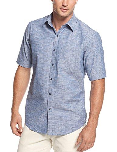Tasso Elba Short Sleeve Dotted Stripe Cotton Shirt Blue Combo Small