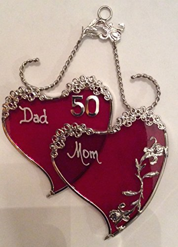 50th Anniversary SweetHeart Gift for Mom and Dad- Silver Finish