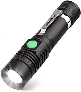 Rechargeable LED Torch Hiking Fishing 1 Super Bright Flashlight for Camping
