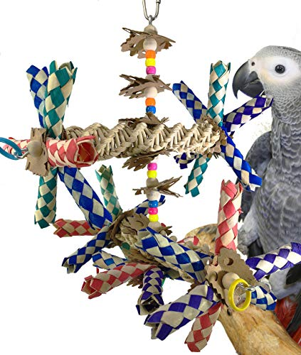 Bonka Bird Toys 1241 Double Helix Parrot cage Cages Cockatiel African Grey Conure Amazon Birds Aviary Big Chew Swing Perches Large Forage