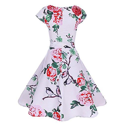 HYIRI 2019 New Temperament Women's Floral Print Retro Big Swing 1950s Dresses White -