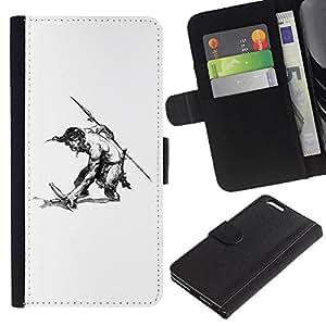 A-type (Hombre Warrior Espada Lanza Sin camisa del dibujo del arte) Colorida Impresión Funda Cuero Monedero Caja Bolsa Cubierta Caja Piel Card Slots Para Apple (5.5 inches!!!) iPhone 6+ Plus / 6S+ Plus