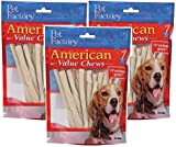 PET FACTORY 28054 American Beef-Hide Premium Twist Sticks, 5-Inch, 25-Pack (Pack of 3)