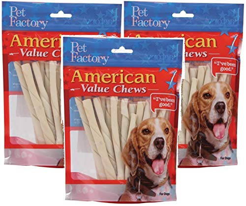 PET FACTORY 28054 American Beef-Hide Premium Twist Sticks, 5-Inch, 25-Pack Pack of 3