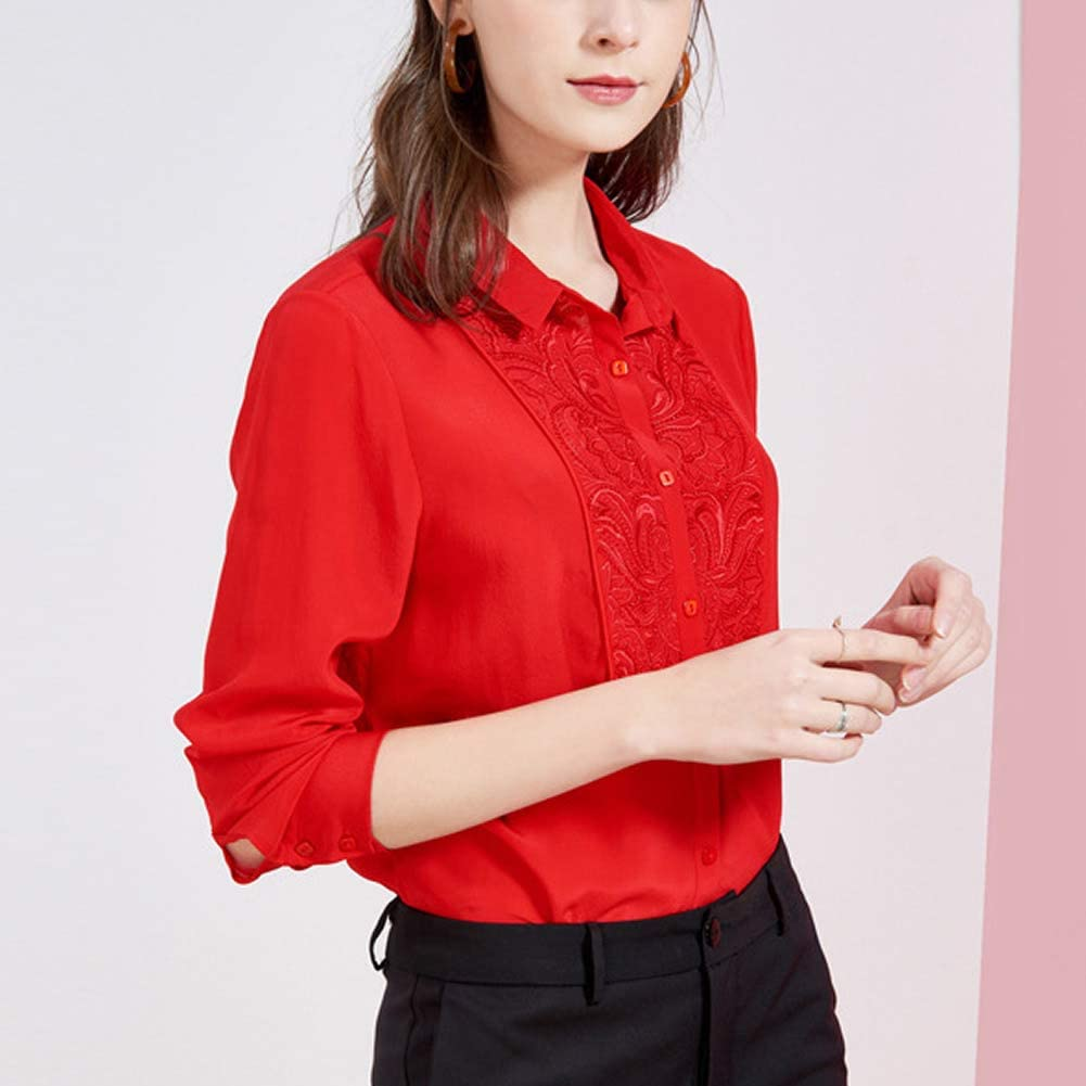 Valin V7319 Silk Women Blouse Top Shirt Collar Long Sleeve Slim Shirt Silk Shirt Top Red