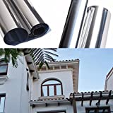 Aissimio Solar One Way Film Window Mirror Film Privacy Reflective Sticker Insulation Sticker Heat Control Anti UV Window Tint Static Cling for Home and Office Silver 50cmx3m