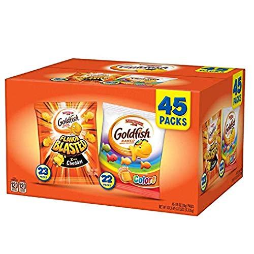 Pepperidge Farm, Goldfish, Crackers, 44.9 oz, Variety Pack, Box, Snack Packs, Pack Of 45