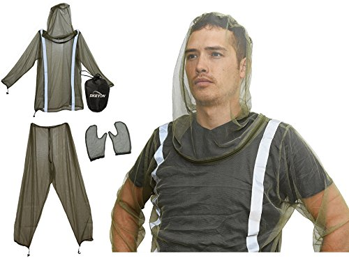 Mosquito Bug Net Jacket with Reflectors, Pants and Mitt's Mosquito Suit Bug Suit with Zipper on Hood by Sketon for Camping Hiking and Yard Work, for Bug Mosquito Protection with Small Carrying Pouch